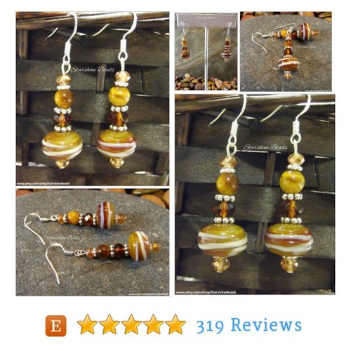 Caramel Cream Lampwork Earrings - Lampwork #etsy @starshinebeads https://www.SharePicVideo.com/?ref=PostPicVideoToTwitter-starshinebeads #etsy #PromoteEtsy #PictureVideo @SharePicVideo