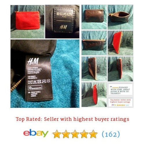 Balmain x H&#M Black Leather and Red Suede Clutch Pouch Bag Cotton Lining | eBay #Bag #Purse #etsy #PromoteEbay #PictureVideo @SharePicVideo