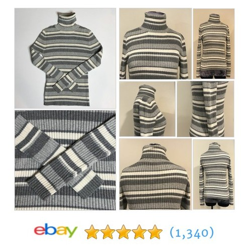 Ann Taylor LOFT Ribbed Gray White Stripe Turtleneck Sweater Women's Size Medium  | eBay #etsy #PromoteEbay #PictureVideo @SharePicVideo