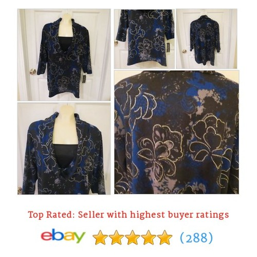 Notations Slipover Cow Neck Top Blue/Blk/Grey/Silver Size 2X #etsy #PromoteEbay #PictureVideo @SharePicVideo