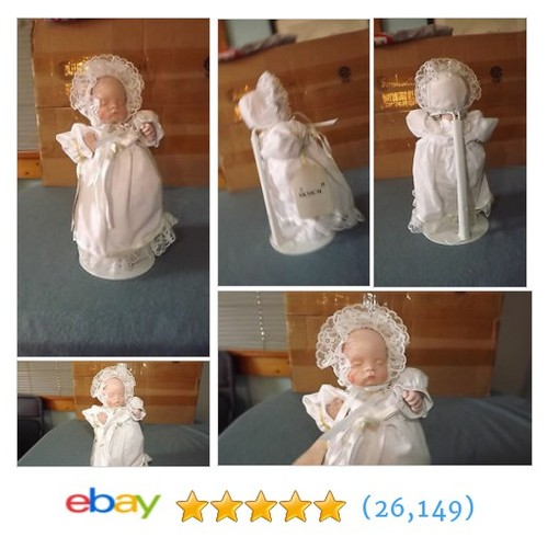 "Vintage Porcelain Musical 11"" Baby Girl Doll in Christening #ebay @lappear_ebay  #etsy #PromoteEbay #PictureVideo @SharePicVideo"