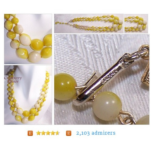 Yellow Marbled Japan Beaded Necklace, Spring Summer Choker, Vintage 1960s Japanese Import Fashion Designer Signed Jewelry, Mother's Day J928 #Jewelry #Necklace #cranberrymanor #etsy #PromoteEtsy #PictureVideo @SharePicVideo