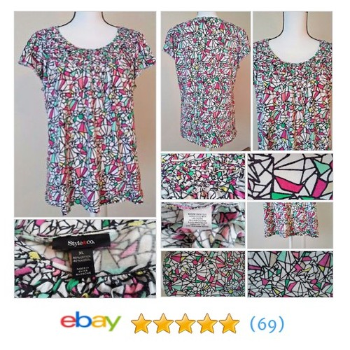 Style&Co. Top Women's Geometric Print Weaved Look Neckline  @hmaevilla #ebay https://SharePicVideo.com?ref=PostVideoToTwitter-hmaevilla #etsy #PromoteEbay #PictureVideo @SharePicVideo