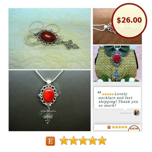 #RedCoral Cab Stone #Pendant #SilverCross #Charm #SnakeChain #Jewelry #SylCameoJewelsStore #Necklace #CharmNecklace #etsyspecialt #TintegrityT #statementjewelry  #jewelryforsale #jewelrylovers  #etsy #PromoteEtsy #PictureVideo @SharePicVideo