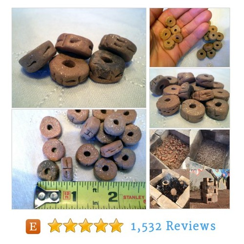 5 Rustic Clay Beads, Rondelle Beads, #etsy @spinning_star  #etsy #PromoteEtsy #PictureVideo @SharePicVideo
