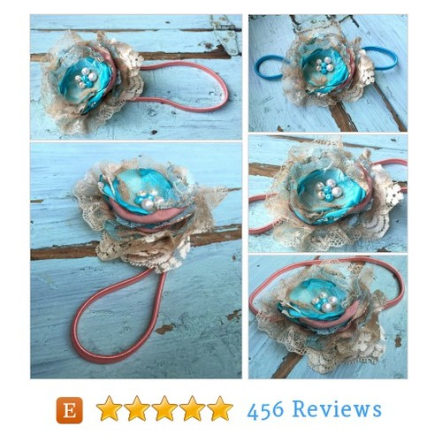 Coral, Peach & Aqua Blue Shabby Chic Satin #etsy @michellecouch74  #etsy #PromoteEtsy #PictureVideo @SharePicVideo