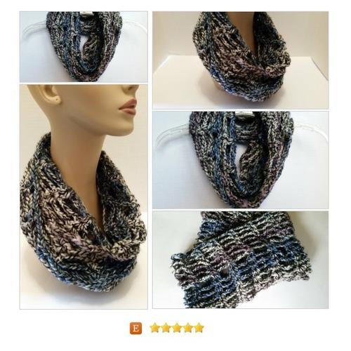 Infinity Cowl #Scarf Multi Crocheted Sydney #Wrap #Accessory  www.softtotouch.info #etsy #PromoteEtsy #PictureVideo @SharePicVideo