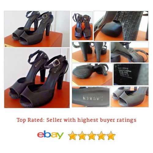 "Ralph Lauren Shoes Size 9.5 #Strappy Black 4.5"" High Heels Wicker Open Toe Sandal 