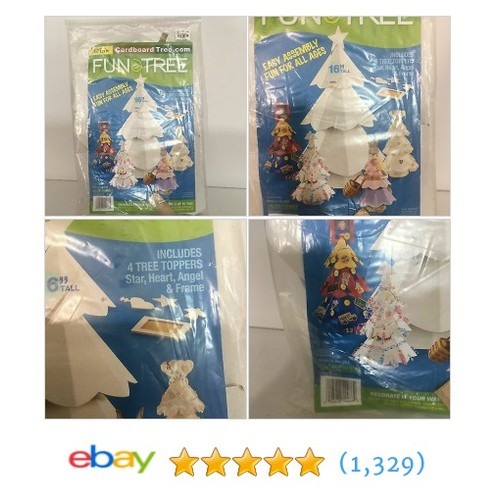 "Arts&Crafts Cardboard 16"" Christmas Tree Easy To Assemble Star Heart Frame  