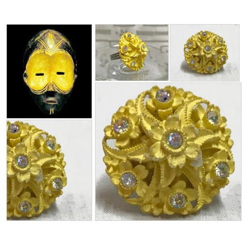 Yellow Adjustable Statement Ring, Repurposed Vintage Button Ring, Vintage Button Art, Vintage Rhinestone Ring, Antique Button Jewelry #etsyspecialt  #SpecialTGIF   #TMTinsta  @pawelterlecki  @BlazedRTs @FearRTs  @sme_rt #vintagebuttons #buttonring #etsy #PromoteEtsy #PictureVideo @SharePicVideo