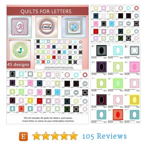 Quilts for letters - 45 designs No.20- #etsy @embroideryrady  #etsy #PromoteEtsy #PictureVideo @SharePicVideo