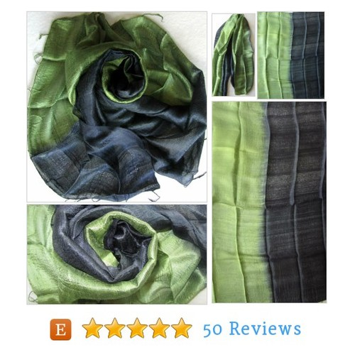 Black Green Silk Shawl Handwoven Pure Raw #etsy @planitisgi  #etsy #PromoteEtsy #PictureVideo @SharePicVideo