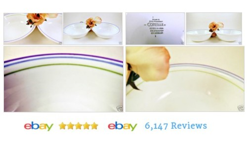 2 MoonGlow Cereal Soup Bowls #Corelle Blue Purple Green Bands Violet MoongloW #CorningWare  #etsy #PromoteEbay #PictureVideo @SharePicVideo