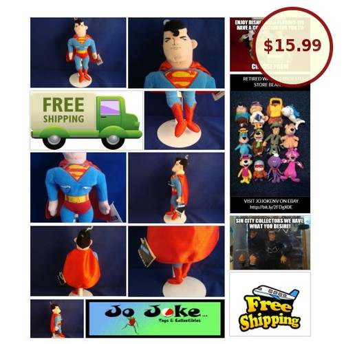 "WARNER BROS STUDIO STORE-SUPERMAN-11""-BEAN PLUSH-D.C. COMICS-NEW/TAGS-SPIFFY 