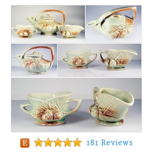 Vintage McCoy Pottery Pine Cone Tea Set: #etsy @cherryorchardat  #etsy #PromoteEtsy #PictureVideo @SharePicVideo