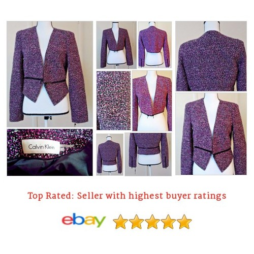 #CalvinKlein Women's Blazer Size 8 #Tweed Adjustable #Crop Zipper #Deco lined arts | eBay #Top #Jacket #Blouse #etsy #PromoteEbay #PictureVideo @SharePicVideo