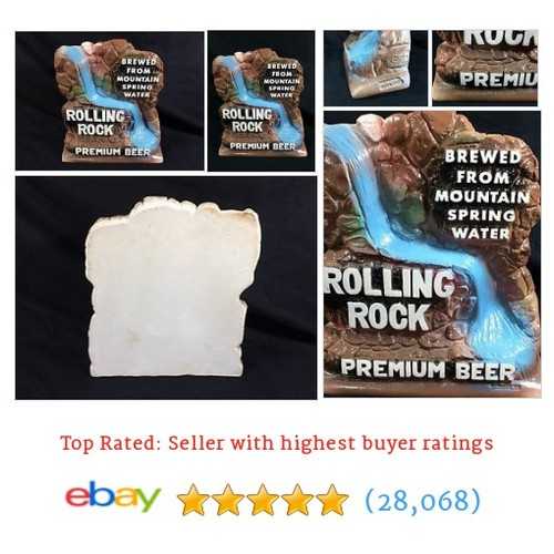 Rolling Rock Beer Chalkware Statue Back Bar Sign Waterfall Latrobe #ebay @cjbeez_  #etsy #PromoteEbay #PictureVideo @SharePicVideo