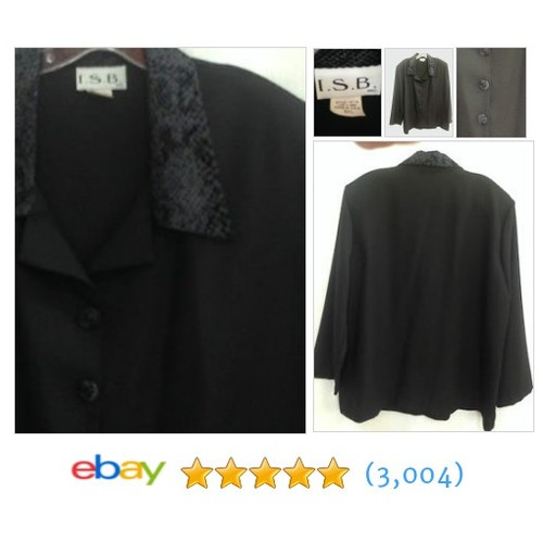 I.S.B. Women Size 3XL Plus Black Poly Shirt Top Snakeskin Velvet #ebay @tikigirltreas  #etsy #PromoteEbay #PictureVideo @SharePicVideo