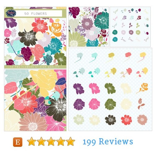 Clipart flowers 50 FLOWERS hand drawn #etsy @surfacehug  #etsy #PromoteEtsy #PictureVideo @SharePicVideo