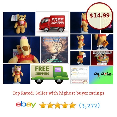 DISNEY STORE EXCLUSIVE-TIGGER IN POOH OUTFIT-BEAN PLUSH-8 INCH-NEW/TAGS-UNIQUE!  | eBay #etsy #PromoteEbay #PictureVideo @SharePicVideo