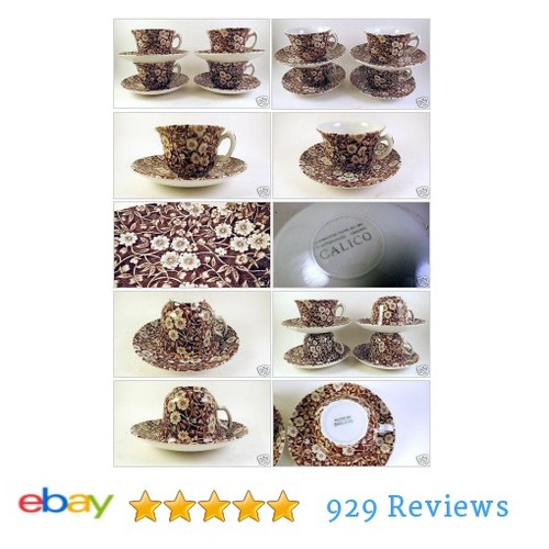 Crownford #China Staffordshire Calico England Brown Cups + Saucers Set of 4 | eBay #Dinnerware #CrownStaffordshire #etsy #PromoteEbay #PictureVideo @SharePicVideo