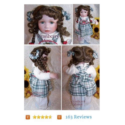 Connie Walser Derek Jane Doll, Hamilton Collection, Green Plaid Red Cherry Dress, Vintage Designer Bisque Porcelain Collectible Display Toy #Toy #Game #Doll #etsy #PromoteEtsy #PictureVideo @SharePicVideo