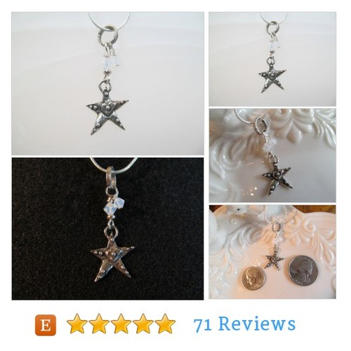 Charm necklace star sterling silver and opal white crystals #Jewelry #Necklace #CharmNecklace #etsy #PromoteEtsy #PictureVideo @SharePicVideo