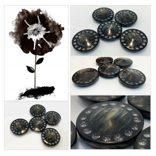 Black Vintage Lucite Buttons  Ring of Faux Rhinestones and Abalone Center New Old Stock  #etsyspecialt #integritytt #SpecialTGIF #Specialtoo  #TMTinsta      @SympathyRTs @SGH_RTs  @iPromotable #vintagebuttons #lucitebuttons #abalone #blingbuttons #etsy #PromoteEtsy #PictureVideo @SharePicVideo