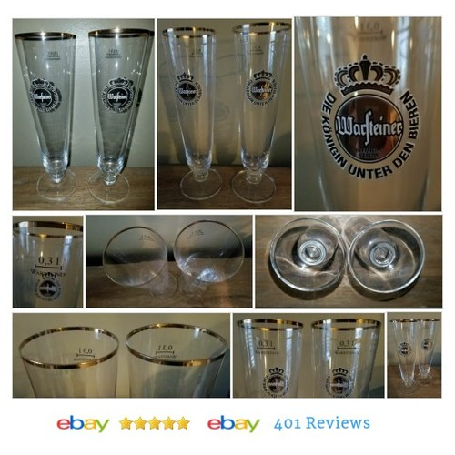 TWO Warsteiner German Pilsner Tulip/Beer Glasses - Footed Gold Rim .4L #Glass #Germany #eBay #StoreName: e_babyji #etsy #PromoteEbay #PictureVideo @SharePicVideo