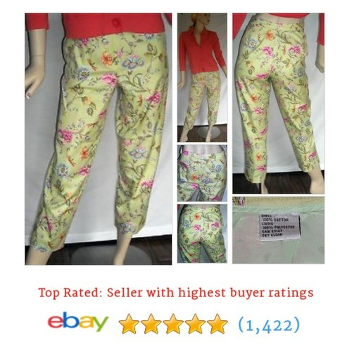 "Pretty Bright Floral Capri Pants 100% Cotton 28""X26"" Ships #ebay @phatzplace  #etsy #PromoteEbay #PictureVideo @SharePicVideo"