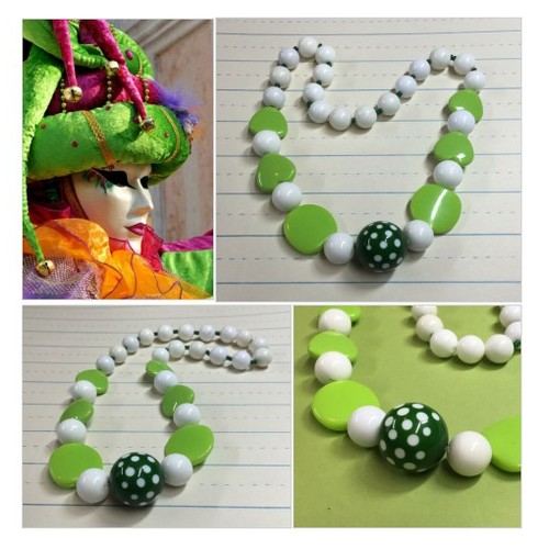 Lime Green and White Chunky Necklace - Vintage Polka Dot Beads - Vintage Beads - Photo Prop - Dress-up - Retro Mod - #etsyspecialt #integritytt #SpecialTGIF #Specialtoo  #TMTinsta      @GiantRetweet @SupportSlayer #etsy #PromoteEtsy #PictureVideo @SharePicVideo