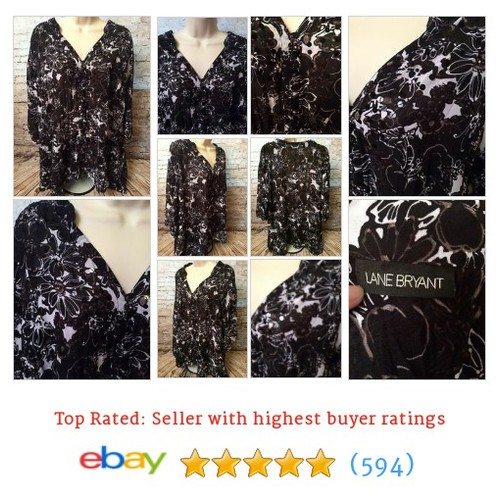 Lane Bryant Black White Floral Sheer Sequined Neckline Blouse Size 4X #ebay @busybee27502  #etsy #PromoteEbay #PictureVideo @SharePicVideo