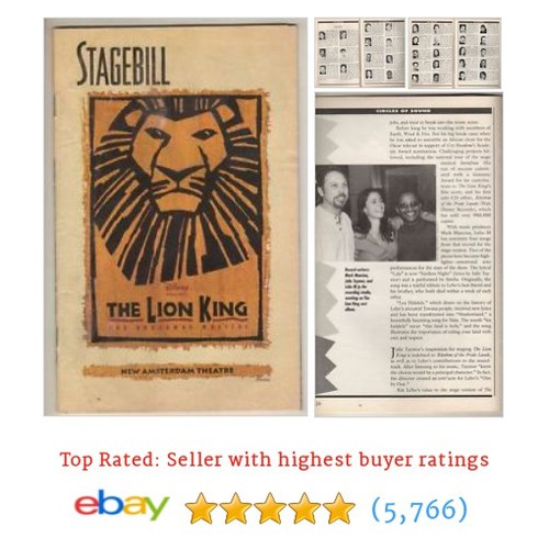 """The Lion King"" Playbill 1998 Broadway Samuel E. Wright, #ebay @playbillsplus  #etsy #PromoteEbay #PictureVideo @SharePicVideo"