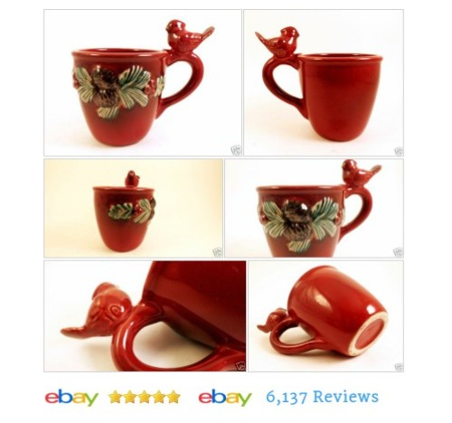 3D Cardinal #Bird #Mug Cup with Pine Cones and Branches Coffee Tea #Cardinal #etsy #PromoteEbay #PictureVideo @SharePicVideo