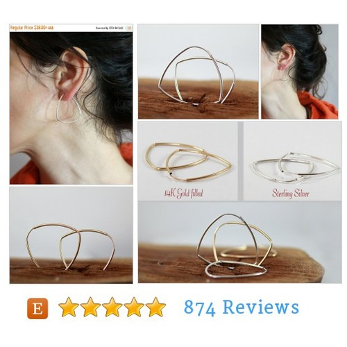 Christmas SALE Hoop Earrings , Triangle #etsy @sigalitajd  #etsy #PromoteEtsy #PictureVideo @SharePicVideo