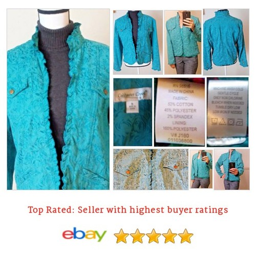 Coldwater Creek #Blazer Blue Size Medium Jacquard Ruffles No Buttons Bronze Tone | eBay #Suit #ColdwaterCreek #etsy #PromoteEbay #PictureVideo @SharePicVideo