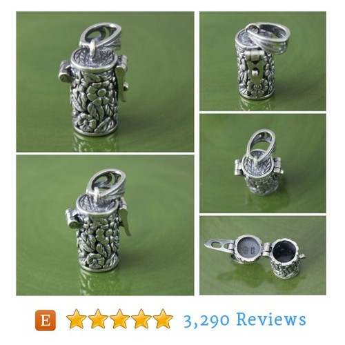Sterling Silver Daisy Cylinder Prayer Box, #etsy @silvercharmsinc  #etsy #PromoteEtsy #PictureVideo @SharePicVideo