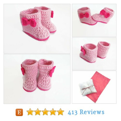 Pink Baby Boots, Baby Girl Booties, Bow #etsy @preciousbowetsy  #etsy #PromoteEtsy #PictureVideo @SharePicVideo