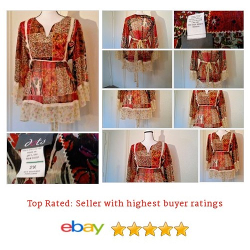 Dots Women's #Blouse Size 2X Plus Multi-Color #Hippy #BoHo #Peasant #Lace Trim #Spring | eBay #Dot #Top #etsy #PromoteEbay #PictureVideo @SharePicVideo