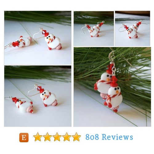 Christmas Snowgirl Earrings, Lampwork Glass #etsy @bstrung  #etsy #PromoteEtsy #PictureVideo @SharePicVideo