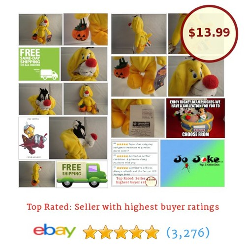 "WARNER BROS STUDIO STORE-SYLVESTER AS TWEETY BIRD-9""-BEAN PLUSH-NEW/TAGS-RARE 