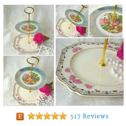 Small Mismatched 2 Tiered Cake Stand/Plate, #etsy @handbvintage  #etsy #PromoteEtsy #PictureVideo @SharePicVideo