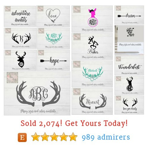 Deer/Antler/Boho Decals Etsy shop #etsy @roseandrust  #etsy #PromoteEtsy #PictureVideo @SharePicVideo