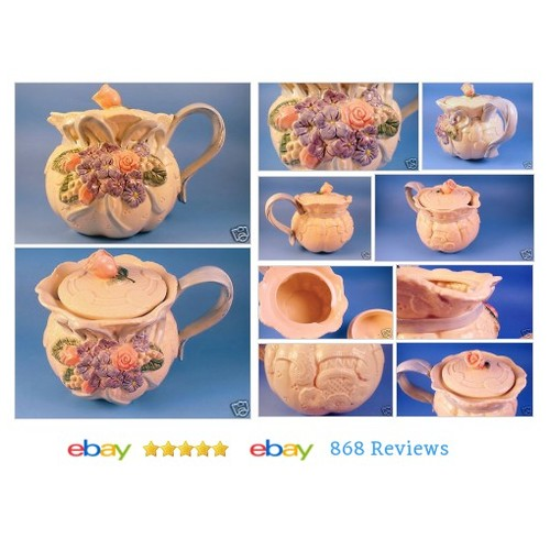 #Fitz and Floyd Teapot Roses Hydrangeas Violets Blue Ribbon Handle Floral Shabby #Set #Floyd #etsy #PromoteEbay #PictureVideo @SharePicVideo