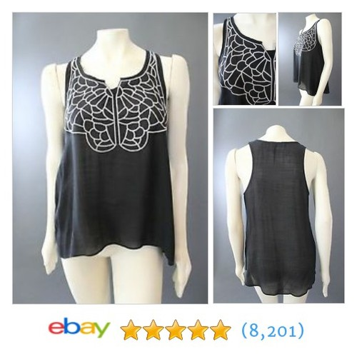 LE SAMPLE Black & Ivory EMBROIDERED Boho Sleeveless  @recycledusa #ebay  #etsy #PromoteEbay #PictureVideo @SharePicVideo