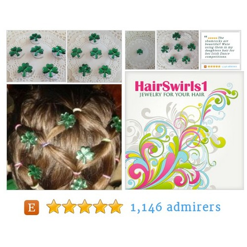 Irish #Wedding Green Shamrock Hair Swirls Hair Spins Spirals Twists Hair Coils Irish Dancers  #HairAccessory #etsy #PromoteEtsy #PictureVideo @SharePicVideo
