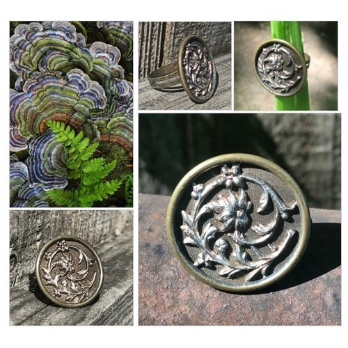 Brass Flower Vintage Button Ring Flower and Vine Statement Ring  Adjustable Woman's Ring Metal Upcycled Button Ring  #etsyspecialt #integritytt #SpecialTGIF #Specialtoo  #SpecialTParty     @SGH_RTs  @DestelloRTs @Quickest_Rts #etsy #PromoteEtsy #PictureVideo @SharePicVideo