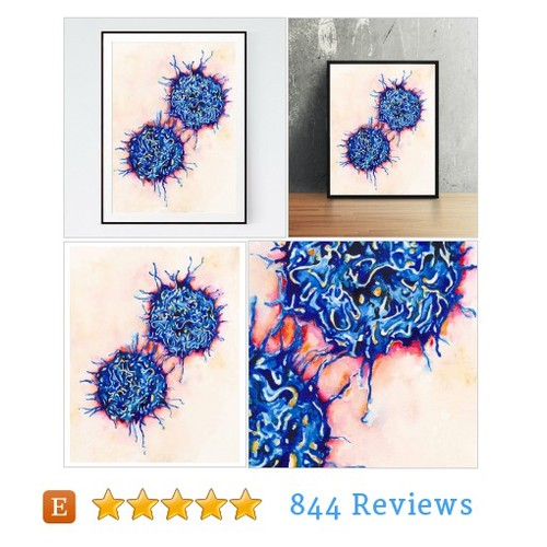 T cells, science art, science print, #etsy #PromoteEtsy #PictureVideo @SharePicVideo