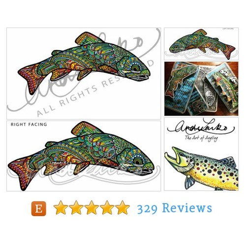 Native Brook Trout Zentangle Laminated 3M #etsy @alarko  #etsy #PromoteEtsy #PictureVideo @SharePicVideo