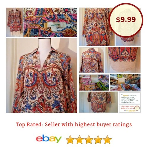 Joan Vass #TunicDress Small #Paisley S Top #BoHo #Hippie #Peasant #stylish #fashion #fashionista #hipster #Summer #etsy #PromoteEbay #PictureVideo @SharePicVideo